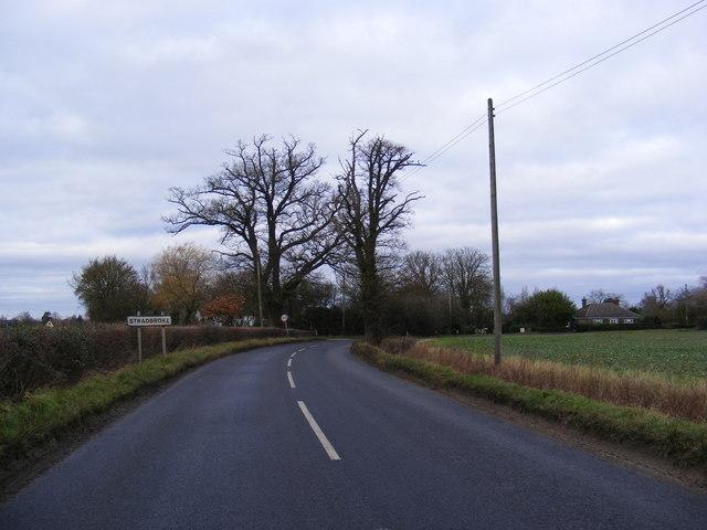 Entering Stradbroke on B1118 Wilby Road
