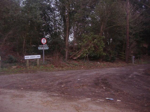 Corner of Burygreen Lane and Bullscross Ride