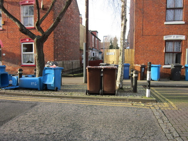 Wheelie bin day on Mayfield Street