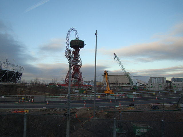 View of the viewing tower and the Aquatics Centre from outside the Container Cafe