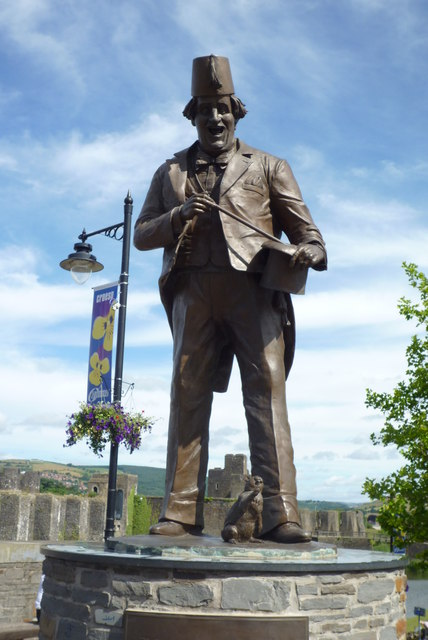 "Tommy Cooper Statue in the ""Twyn"" Car Park centre of Caerphilly"