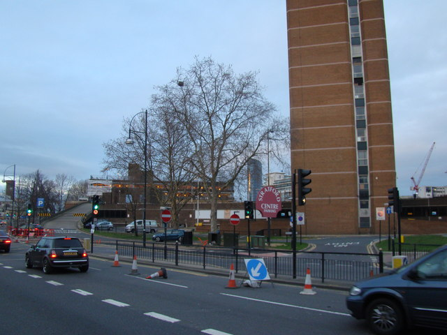 View of the Stratford Centre multi-storey car park from Great Eastern Road