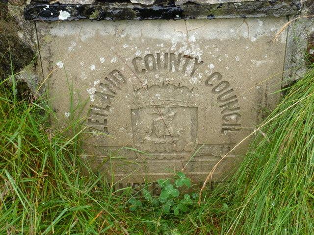Billister: old Zetland County Council stone