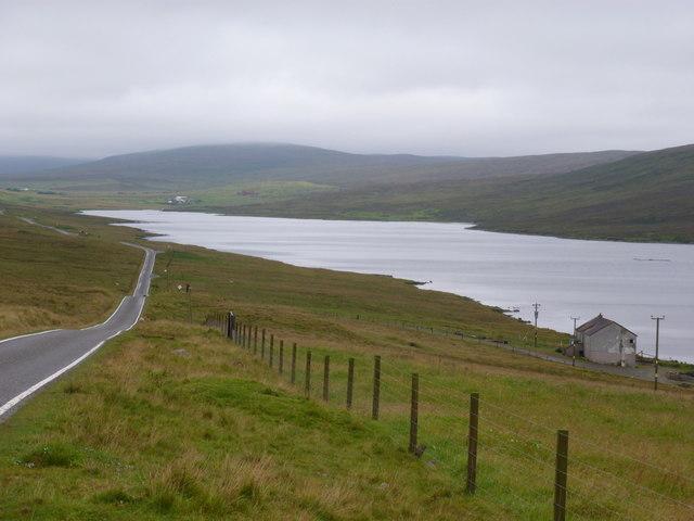Haggersta: road alongside Loch Strom