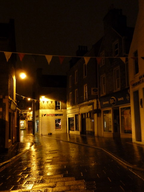 Lerwick: Commercial Street on a wet night