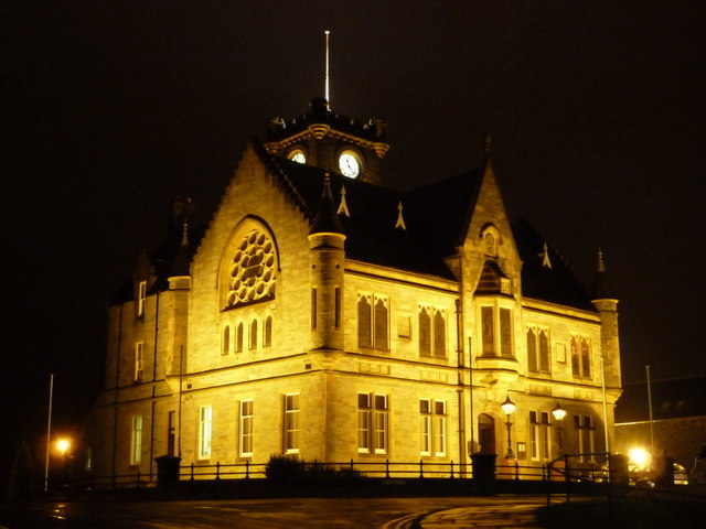 Lerwick: the Town Hall floodlit