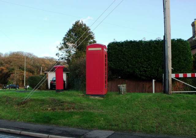 Telephone kiosk and pillarbox, Stone Cross