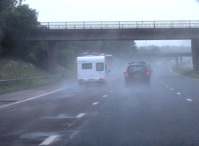 A wet day at Scotby Bridge, M6