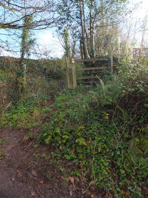 Stile at end of footpath in Bickleigh