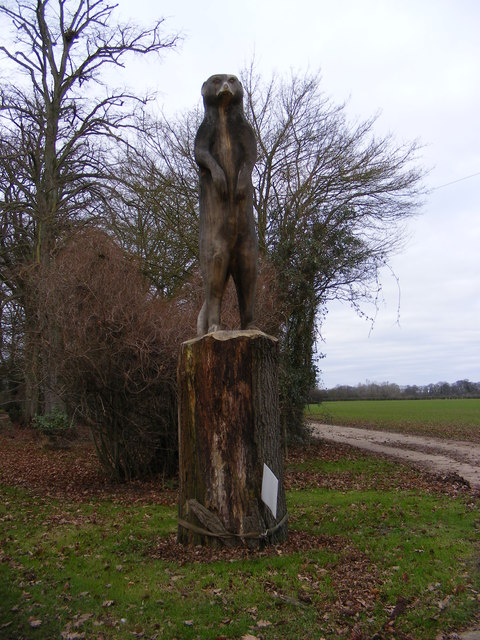 Sculpture at the entrance to Rookery Farm