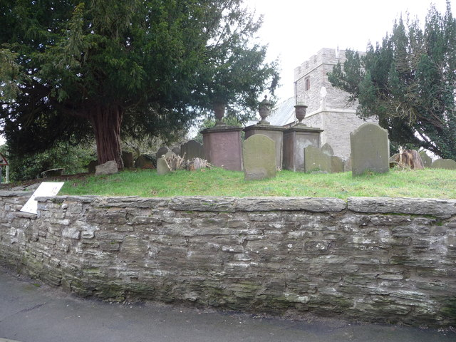 Corner of Bishop's Castle churchyard wall