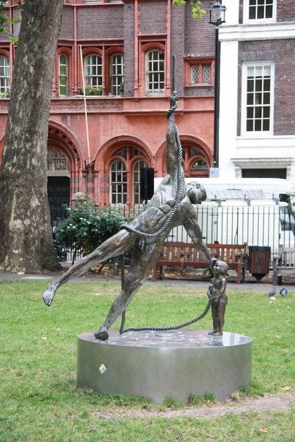 Statue, Soho Square - Man & child