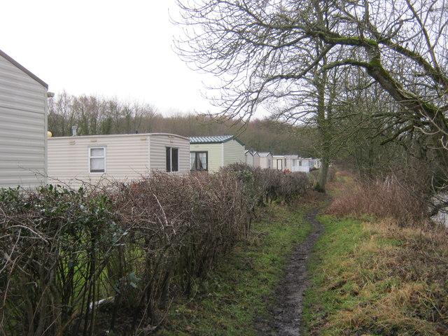 Weardale Way between a caravan park and the riverbank