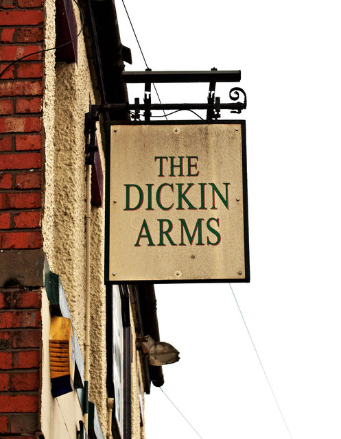 The Dickin Arms (3) - sign, 37 Noble Street, Wem