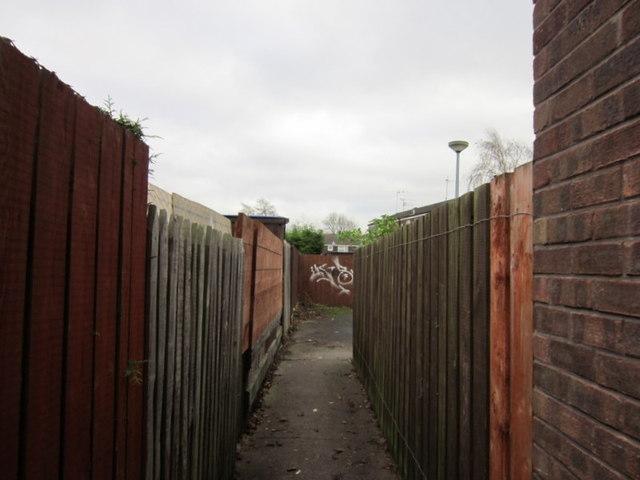 A passageway leading to Hopwood Close