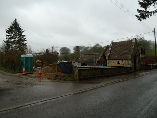 Building work opposite East Tisted Parish Church