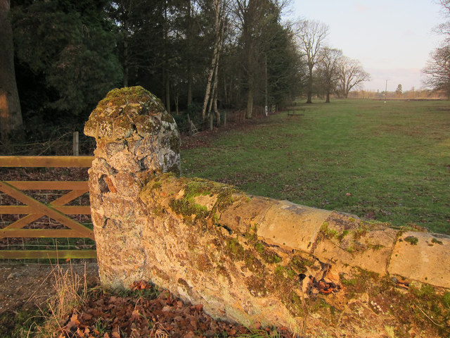 Gatepost near Ryston Hall