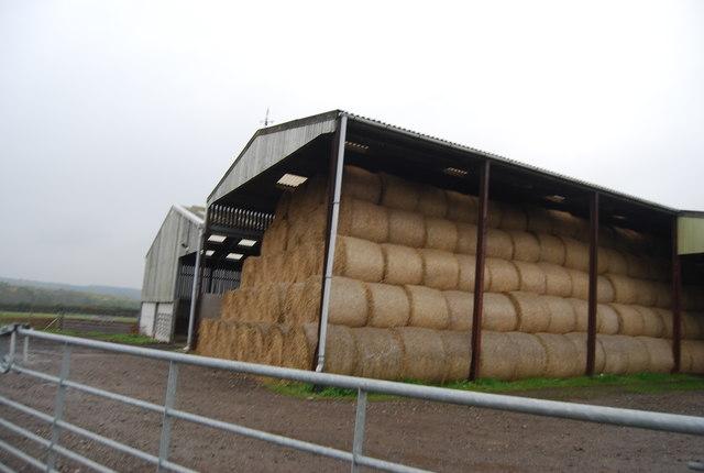 Bales in a barn, Brooklands Farm
