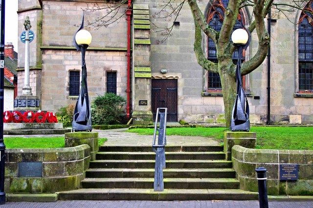 Processional steps and lamps at Wem War Memorial, High Street, Wem