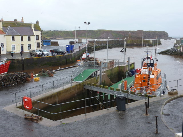 Eyemouth: river mouth and lifeboat