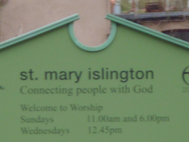 Notice board, St Mary's Church, Upper Street N1