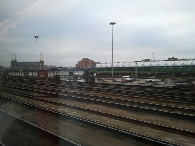Nine Elms and Battersea Power Station seen from the train