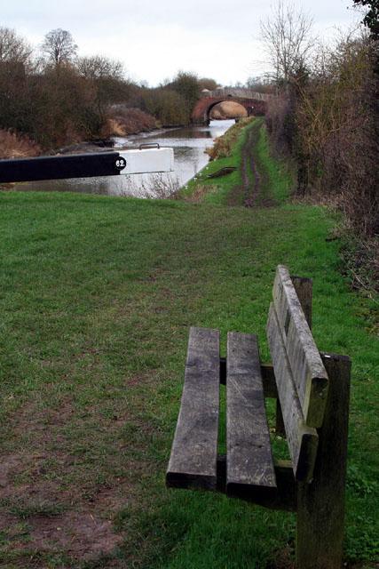 A bench beside lock 62