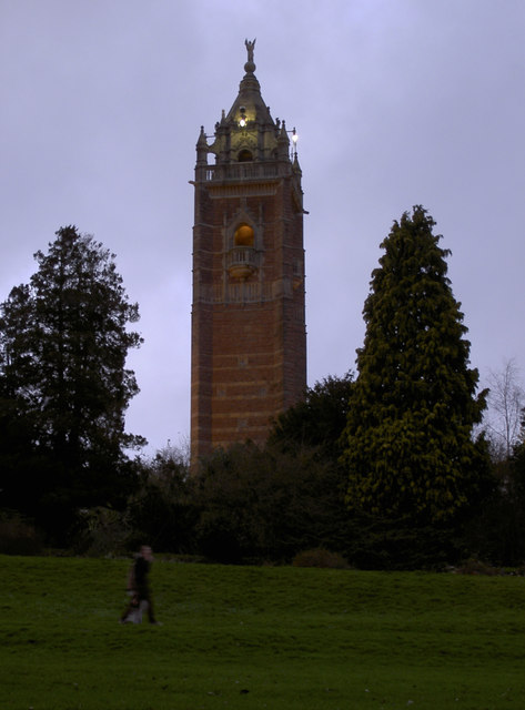 A glowing Cabot Tower on Brandon Hill