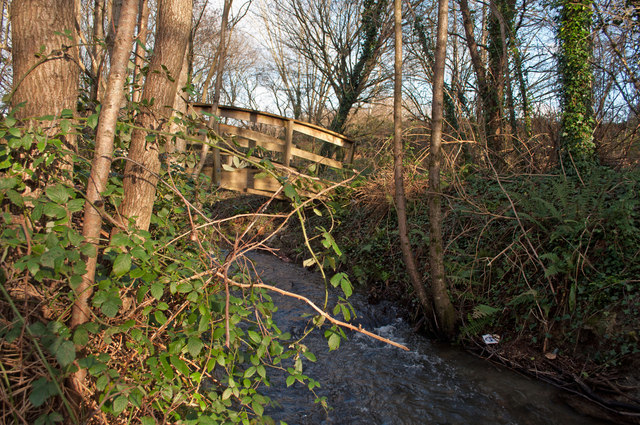 A bridge over Coney Gut near the Homebase store as seen from downstream