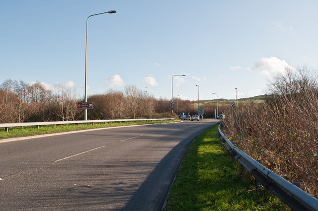 The A39 leaving Barnstaple where it passes over Coney Gut