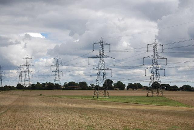 Pylons crossing farmland