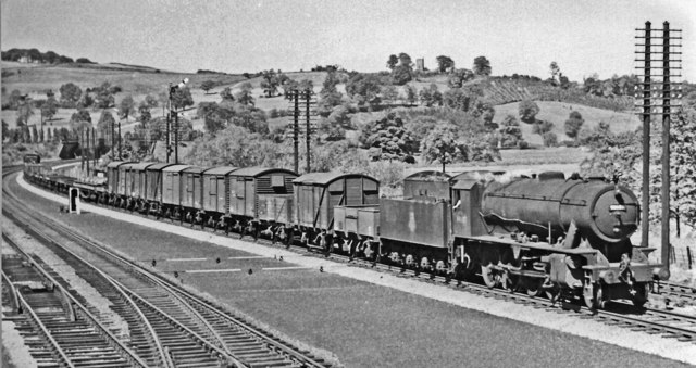 Up freight on Midland main line near Duffield