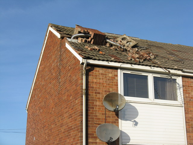 Storm damaged chimney on Ferniehill Drive