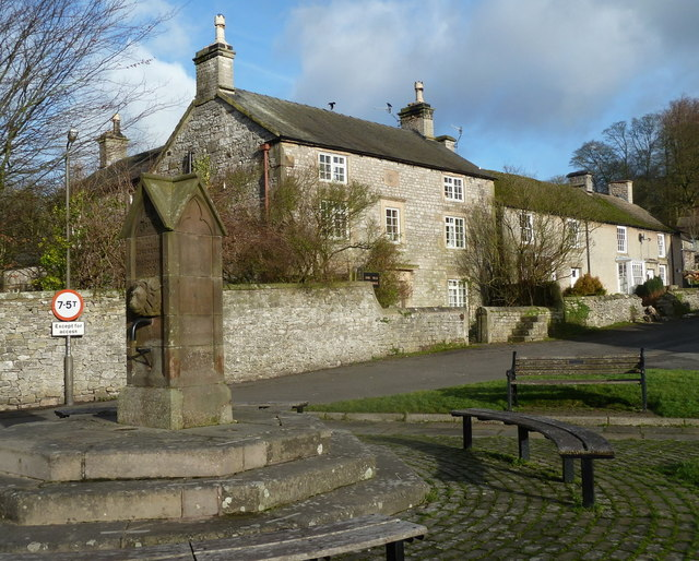 Village pump and the old vicarage, Hartington