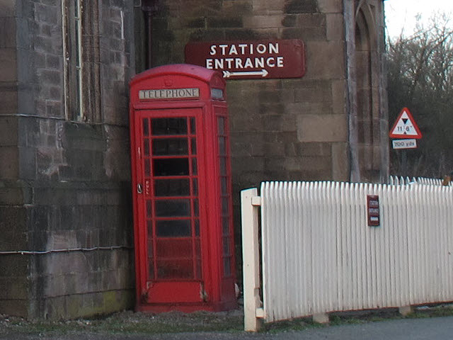 Phone box at Cheddleton station