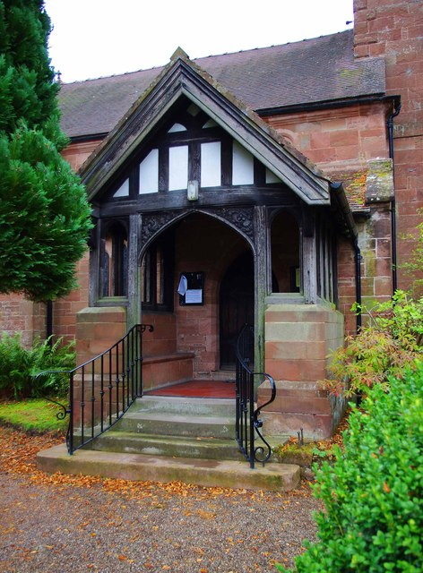 St. Milburga's Church - porch, Badger Lane, Beckbury