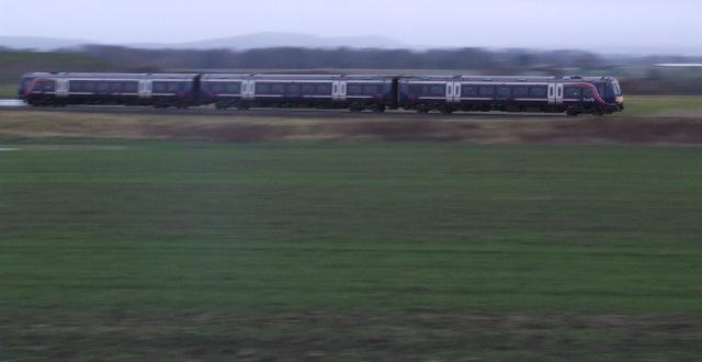 Train passing Edinburgh Airport