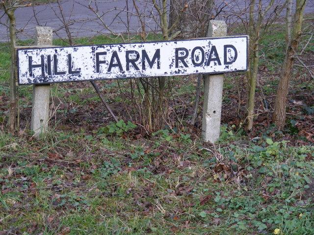 Hill Farm Road sign