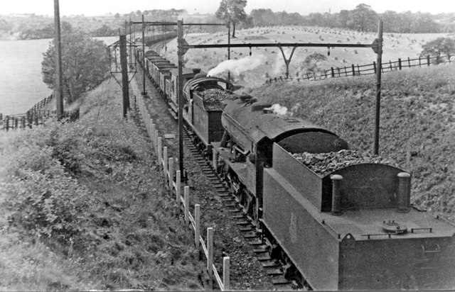 Westbound coal train on Worsbrough Incline, with two banking engines