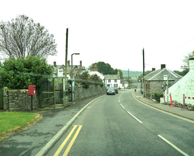 A post box and bus stops in Auchencairn