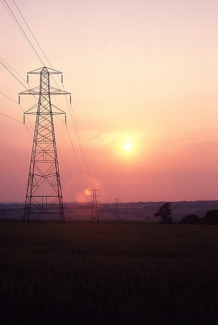 Pylons across Portsdown Hill