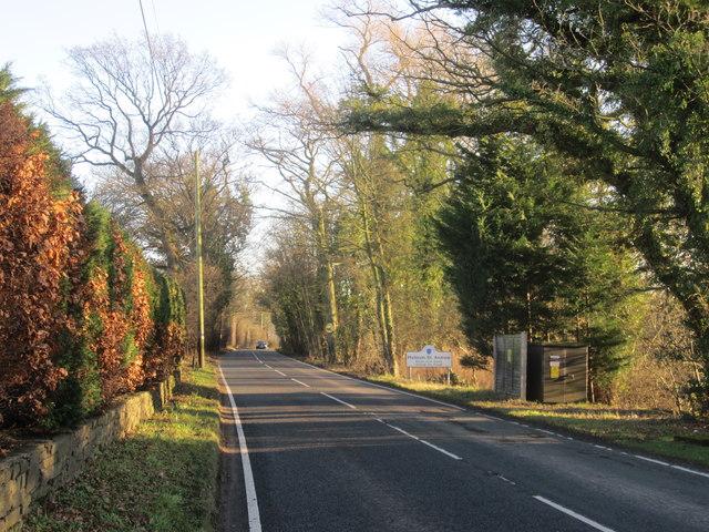 A538 approaching Mottram St Andrew parish boundary