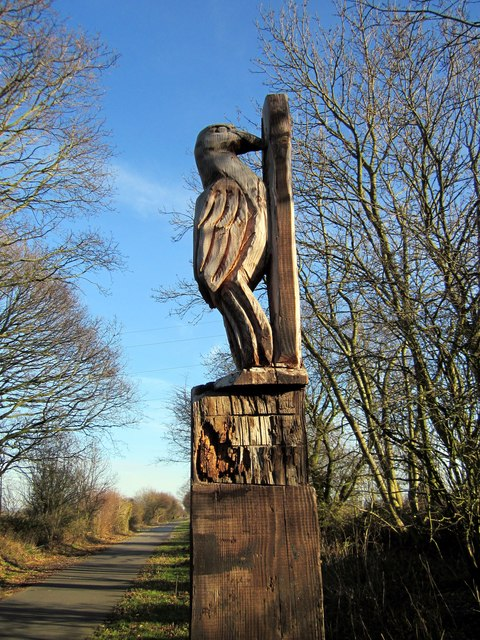 Woodpecker carving on the Millennium Greenway