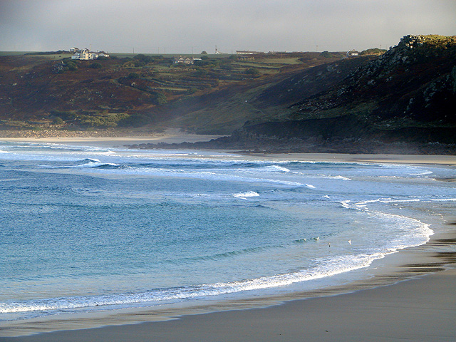 A view across Whitesand Bay from the Lifeboat Station at Sennen Cove