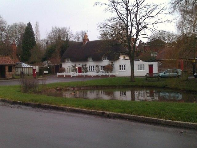 Thatched cottage by village pond, North Waltham