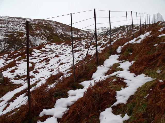 Boundary/deer fence south of allt of Coire nam Fraochag above Glen Lyon