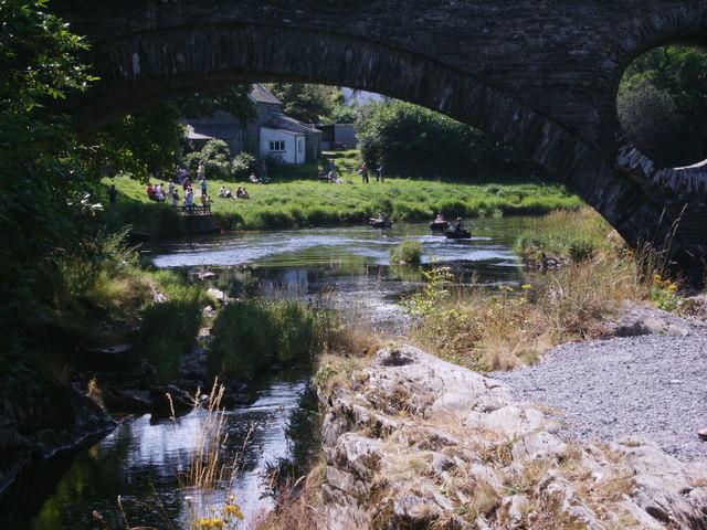Coracles on Afon Teifi (River Tivy) at Cenarth