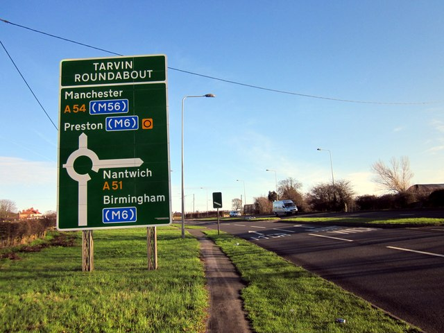 Approaching the Tarvin Roundabout