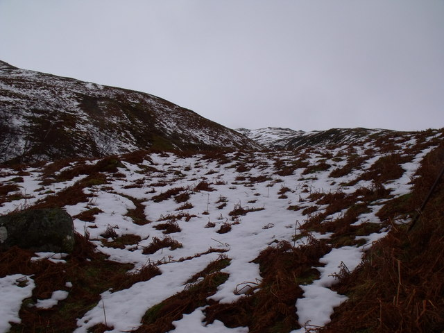 The course of the allt in Coire nam Fraochag in Glen Lyon