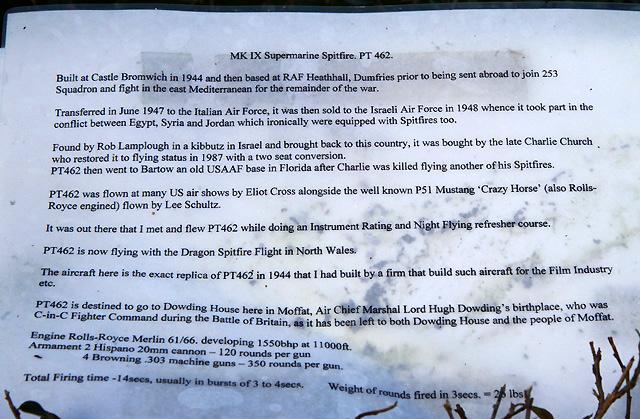 An information sheet for the Moffat Spitfire
